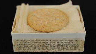 Ce biscuit emporté par l'explorateur Ernest Shackleton a été vendu 1 400 euros, mercredi 28 septembre. (BEN STANSALL/AFP)