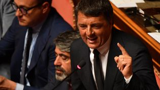 Matteo Renzi, ancien Premier ministre italien, lors d'un discours au Sénat, à Rome, le 20 août 2019. (ANDREAS SOLARO / AFP)