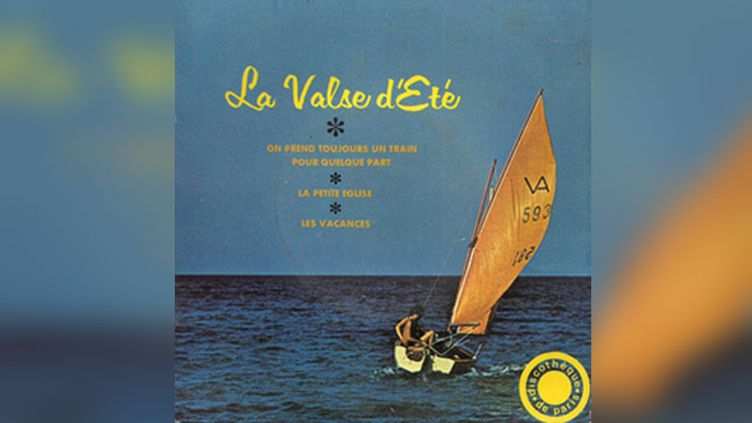 """""""La Valse d'été"""" d'Adamo et """"Les Vacances"""" d'Enrico Macias sur le même disque publicitaire à l'été 1968.  (Discothèque de Paris)"""