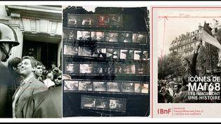 """A gauche, Daniel Cohn-Bendit face à un Crs devant la Sorbonne le 6 mai 1968, photo de Gilles Caron, tirage de presse vers 1977, avec indications de cadrage au crayon, Fondation Gilles Caron - Au centre, planche contact, Etudiant pourchassé par un CRS, photo Gilles Caron, Fondation Gilles Caron - A droite, l'affiche de l'exposition de la BnF, avec la """"Marianne de Mai 68"""" de Jean-Pierre Rey  (A droite et au centre © Gilles Caron - A droite © Jean-Pierre REY)"""