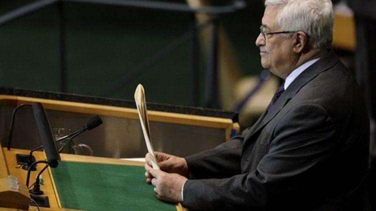 Le président palestinien, Mahmoud Abbas, à la tribune de l'ONU le 25 septembre 2009 à New York (Rick Gershon - Getty Images - AFP)