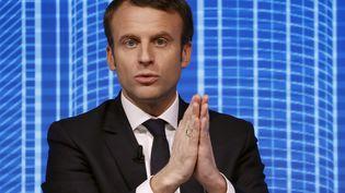 Emmanuel Macron, candidat à la présidetielle, au Carrousel du Louvre (Paris), le 23 février 2017. (PATRICK KOVARIK / AFP)