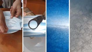Fibres visibles à la loupe dans des masques (Captures d'écran Facebook / STEPHANIE BERLU / RADIO FRANCE)