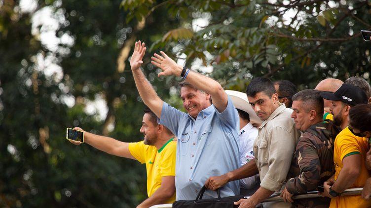 Le président brésilien Jair Bolsonaro, lors des manifestations en sa faveur le 7 septembre 2021 à Sao Paulo. (AMAURI NEHN / NURPHOTO)