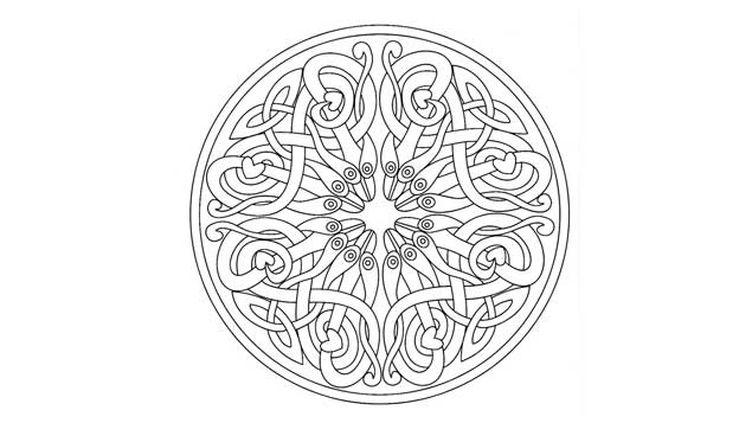 (Un mandala composés d'arabesque, donnant une jolie impression de mouvement et d'harmonie © coloriages-adultes.com)