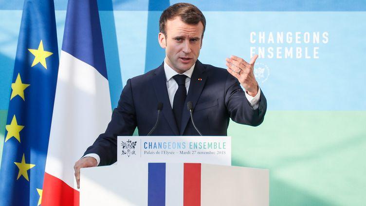 Emmanuel Macron s'exprime après l'installation du Haut conseil pour le climat, le 27 novembre 2018, à Paris. (MAXPPP)