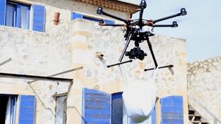 Une livraison par drone, en Espagne. (FRANCEINFO)