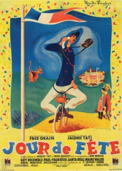 Jour de Fête de Jacques Tati. Affiche française 1948.  (Néret-Minet  Tessier & Sarrou)