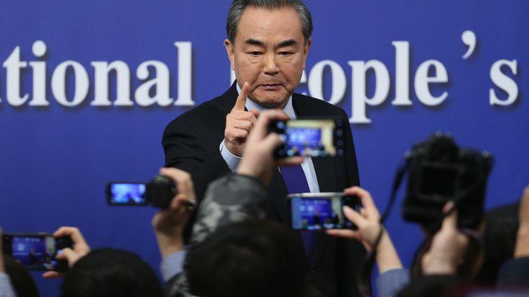 Le ministre chinois des Affaires étrangères, Wang Yi, lors de sa conférence de presse à Pékin le 8 mars 2018. (MAXPPP)