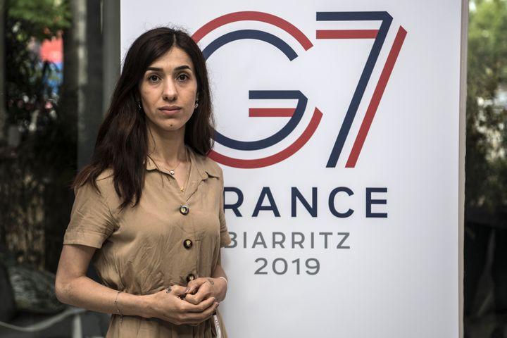 La militante yézidie Nadia Murad lors d'un événement organisé à Paris, le 9 mai 2019, en amont du sommet G7 à Biarritz (Pyrénées-Atlantiques). (CHRISTOPHE ARCHAMBAULT / AFP)