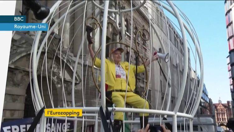 Vivienne Westwood soutient Julian Assangehabilléeen jaune dans une cage (FRANCEINFO)