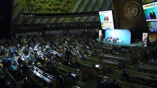 Le président turc, Recep Tayyip Erdogan, prononce un discours lors du sommet de l'ONU pour le climat, le 23 septembre 2019 à New York (Etats-Unis). (MURAT KULA / ANADOLU AGENCY / AFP)