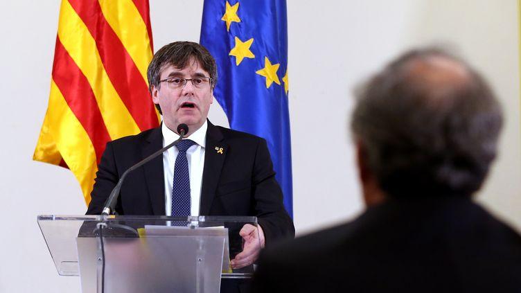 Carles Puigdemont, le 18 février 2019 à Bruxelles. (DURSUN AYDEMIR / ANADOLU AGENCY / AFP)