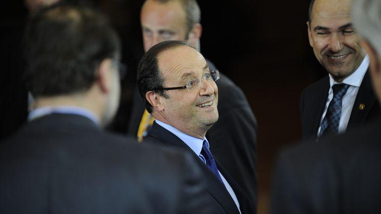 François Hollande, le 29 juin 2012, à Bruxelles (Belgique) pour un sommet de la zone euro consacré à la crise de la dette. (JOHN THYS / AFP)