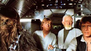 "Alec Guinness, Harrison Ford, Mark Hamill, Peter Mayhewet Harrison Ford,""Star Wars Le nouvel espoir"", 1977  (RONALDGRANT/MARY EVANS/SIPA)"
