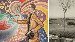 """A gauche, Paul Signac, """"Opus 2017. Sur l'émail d'un fond rythmique de mesures et d'angles, de tons et de teintes, portrait de M. Félix Fénéon en 1890"""", The Museum of Modern Art, New York. Don de M. et Mme Rockefeller - A droite, Albert Renger-Patzsch, """"Das Bäumchen (Le jeune arbre"""", Galerie Berinson, Berlin  (A gauche © 2017 Artists Rights Society (ARS), New York / ADAGP, Paris - A droite © Albert Renger-Patzsch / Archiv Ann und Jürgen Wilde, Zülpich / ADAGP, Paris 2017)"""