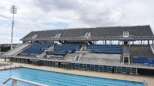La piscine olympique des JO d'Athènes abandonée, en mars 2016. (WASSILIOS ASWESTOPOULOS / NURPHOTO / AFP)