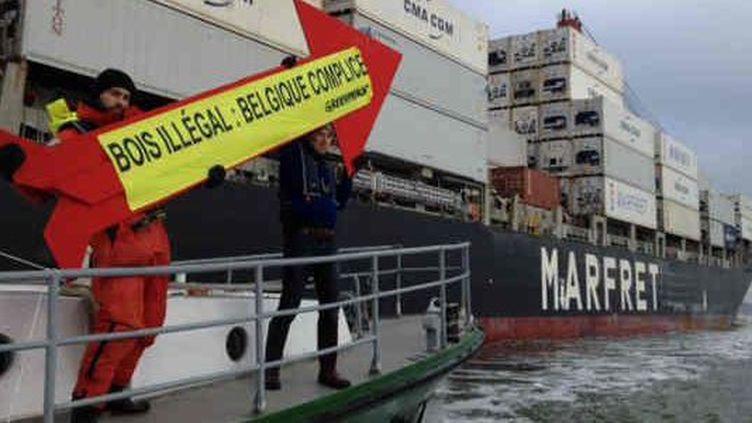 Opération de militants de Greenpeace contre des importations de bois tropical suspect en provenance du Brésil dans le port de Rotterdam, début novembre 2014. (Greenpeace)