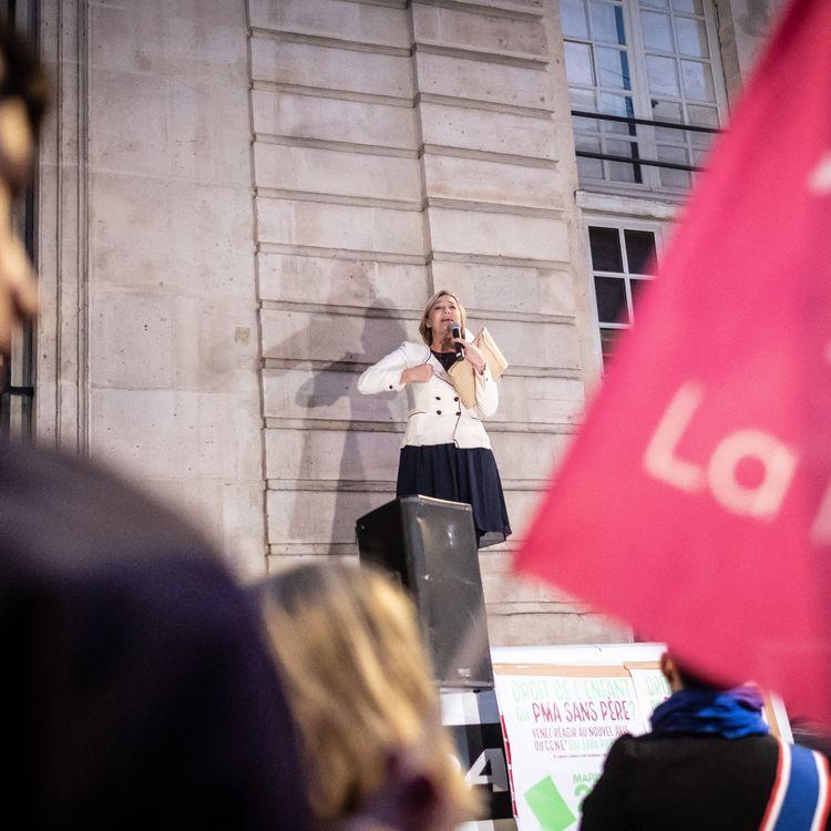 Ludovine de la Rochère, présidente de la Manif pour tous, le 25 septembre 2018 à Paris. (OLIVIER DONNARS / NURPHOTO / AFP)