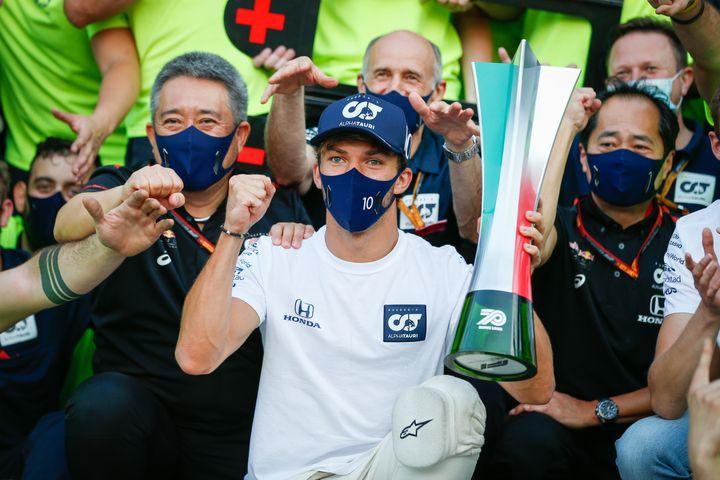 Pierre Gasly vainqueur du Grand Prix d'Italie, à Monza, le 6 septembre 2020. (ANTONIN VINCENT / DPPI MEDIA)