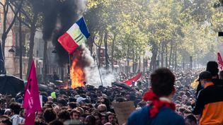 Des incidents ont entaché la Marche pour le climat, le 21 septembre, à Paris. (JULIETTE PAVY / HANS LUCAS / AFP)
