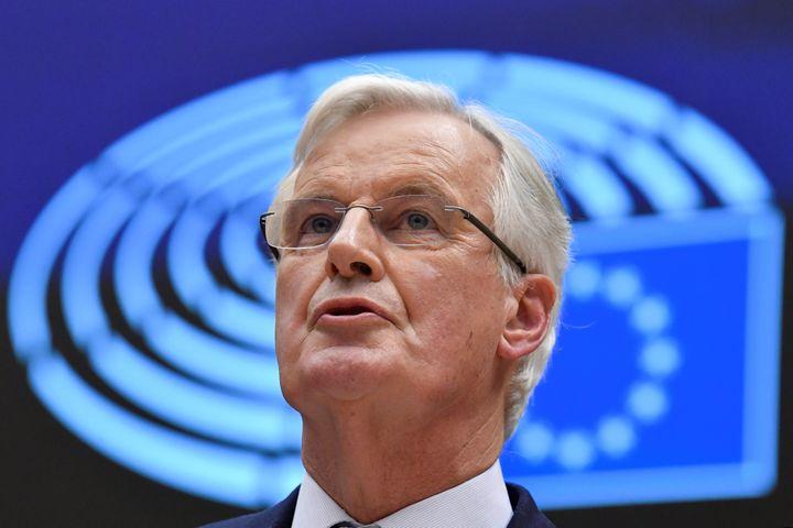 Le chef des négociateurs européens, Michel Barnier, lors d'un discours sur le Brexit, le 29 janvier 2020, à Bruxelles (Belgique). (JOHN THYS / AFP)