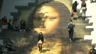 Le célèbre tableau de Léonard de Vinci reproduit sur le monumental escalier Denis-Papin de Blois à l'occasion des célébrations des 500 ans de la Renaissance et de la mort du maître florentin.  (Culturebox - capture d'écran)