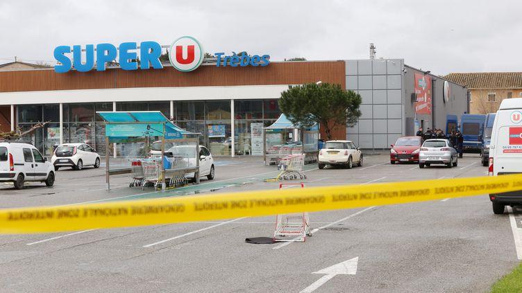 Le supermarché de Trèbes (Aude) attaqué par un terroriste le 23 mars 2018. (MAXPPP)