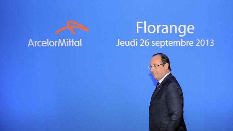 Le président François Hollande, le 26 septembre 2013, à Florange (Moselle). ( MAXPPP)