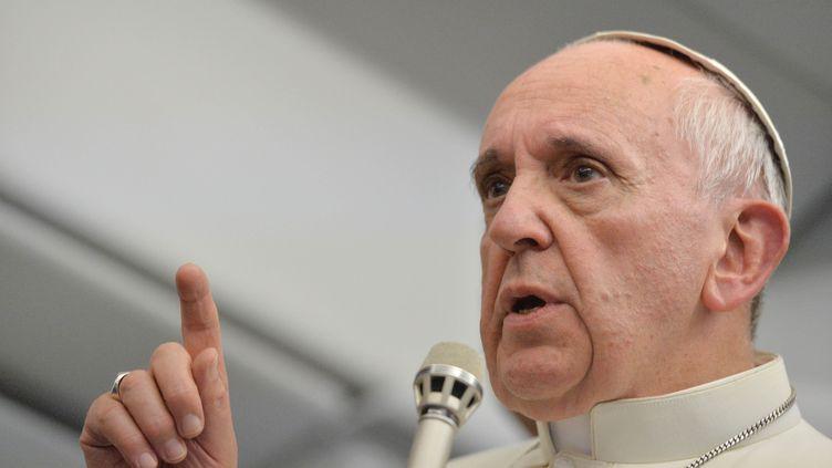 Le pape François s'adresse aux journalistes dans l'avion qui les ramène en Italie, après les Journées mondiales de la jeunesse (JMJ), à Rio de Janeiro (Brésil), le 28 juillet 2013. (AFP )