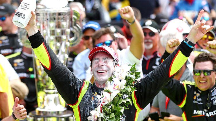 """Simon Pagenaud après son succès dans """"la plus grande course du monde"""" l'an passé. (USA TODAY SPORTS / X02835)"""