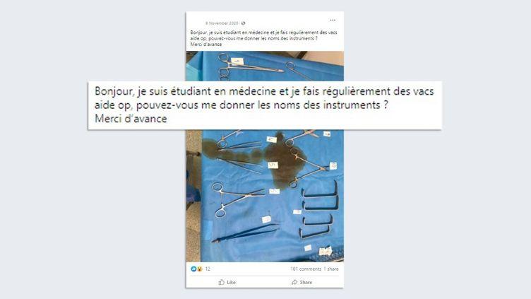 Un post sur leprofil Facebook de l'individu qui se faisait passer pour un étudiant en médecine. (CAPTURE D'ÉCRAN)