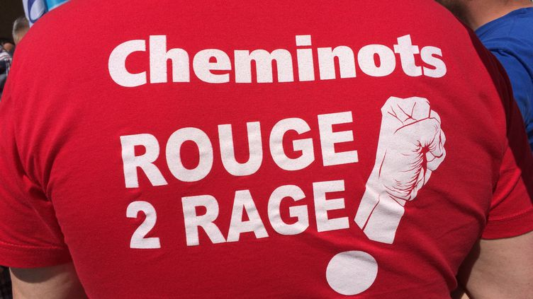 """Un cheminot gréviste de dos avec un tee-shirt rouge arborant le slogan """"Cheminots Rouge 2 rage !"""" (NATHALIE COL / RADIOFRANCE)"""