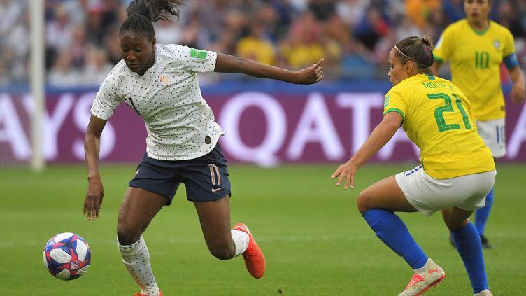 Kadidiatou Diani lors du huitième de finale contre la Coupe du monde, dimanche 23 juin 2019 au Havre (Seine-Maritime). (LOIC VENANCE / AFP)