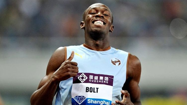 Usain Bolt devant Asafa Powel et Christophe Lemaitre