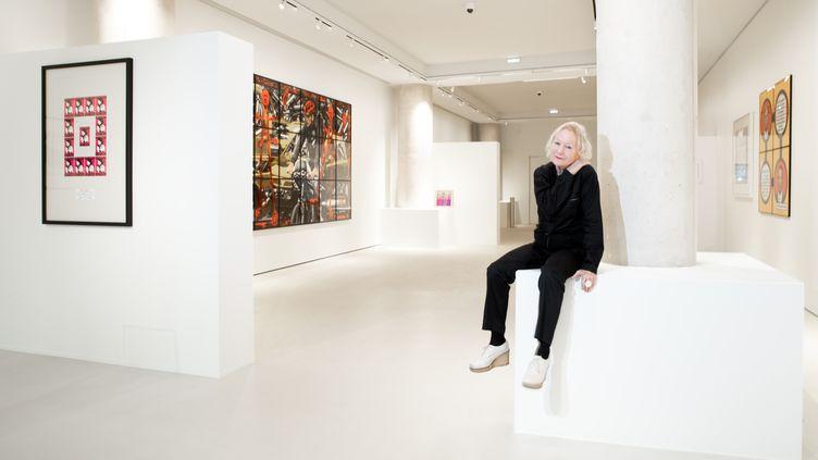 """La créatrice de mode et collectionneuse Agnès b le 27 janvier au milieu de l'espace d'exposition de sa """"Fab."""" (JOEL SAGET / AFP)"""