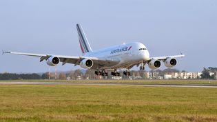 Un Airbus A380 se pose à l'aéroport d'Orly, le 11 novembre 2009. (ERIC PIERMONT / AFP)