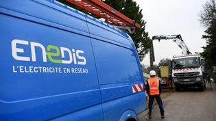 Des agents d'Enedis interviennent le 21 novembre 2019 pour rétablir le courant dans la Drôme, le département le plus touché avec l'Ardèche par les chutes de neige du 14 novembre. (JEAN-PIERRE CLATOT / AFP)