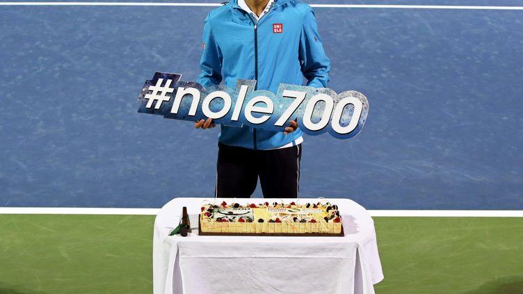 Djokovic a célébré sa 700e victoire. (ALI HAIDER / EPA)