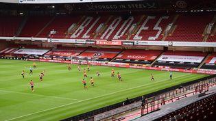 Un match de Premier League entre Sheffield United et Wolverhamption, le 8 juillet 2020 à Sheffield (Angleterre). (LAURENCE GRIFFITHS / AFP)