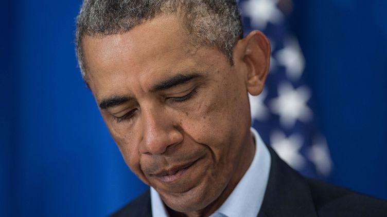 Le président américain Barack Obama lors d'une déclaration depuis Edgartown, dans le Massachusetts, le 20 août 2014. (NICHOLAS KAMM / AFP)
