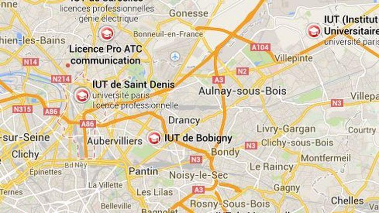 Le directeur de l'IUT de Saint-Denis (Seine-Saint-Denis) est la cible de menaces de mort à caractère islamiste, rapporte RTL lundi 19 mai 2014. (GOOGLE MAPS)