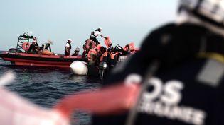 La zone de recherche et de sauvetage de la Méditerranée le 9 juin 2018 où des migrants ont été secourus avant d'embarquer sur le navire de l'ONG française Aquarius. (KARPOV / SOS MEDITERRANEE)