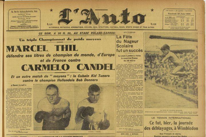 """Le vendredi 28 juin 1935, le journal L'Auto annonce un combat entre Marcel Thil et Carmelo Candel """"ce soir, à 20h30, au stade Roland-Garros"""". (Source gallica.bnf.fr / Bibliothèque nationale de France)"""
