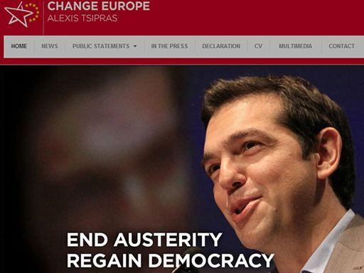 Copie du site internet «Change Europe» en faveur de la candidature d'Alexis Tsipras au poste de président de la Commission européenne. (DR)