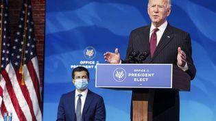 Joe Biden, le président élu des Etats-Unis, lors d'une conférence de presse, à Wilmington (Delaware, Etats-Unis), le 16 décembre 2020. (GETTY IMAGES NORTH AMERICA / AFP)