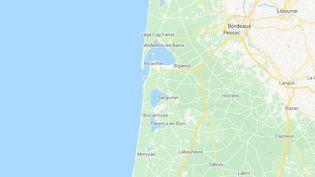 Les côtes du golfe de Gascogne entre Gironde et Landes. (GOOGLE MAPS)