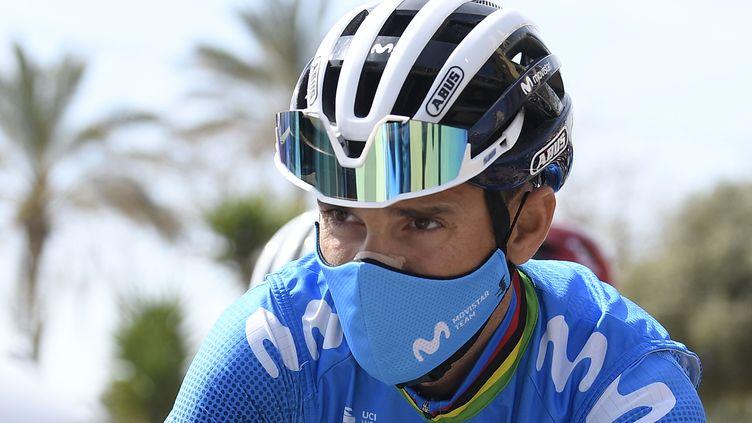 L'Espagnol Alejandro Valverde (Movistar) avant la première étape du Tour de Catalogne le 22 mars 2021. (JOSEP LAGO / AFP)