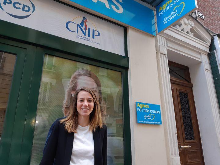 Agnès Pottier-Dumas, candidate de la majorité municipale désavouée dans l'entre-deux-tours par le couple Balkany, le 19 juin 2020 à Levallois-Perret. (SARAH TUCHSCHERER / RADIO FRANCE)