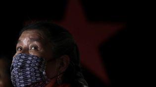 Une femme de la communauté Otom au Mexique, le 17 octobre 2020. (GERARDO VIEYRA / NURPHOTO / AFP)